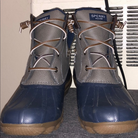 Grey And Blue Sperry Duck Boots